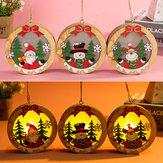 Aydınlık Noel Ahşap Süs LED Lamba Noel Baba Geyik Dekor Lamba Yılbaşı Süsleri