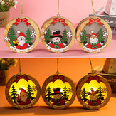 Ornamento de madeira de Natal luminoso LED Luz Papai Noel Deer Decor Lamp Xmas Decorations