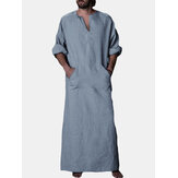 INCERUN vendimia Loose Kaftan Tops Men Long Túnica Loungewear