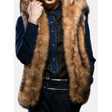 Mens Faux Fur Big Hooded Coat Winter Thick Warm Fashion Vest