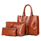 3 PCS Women Vintage Leisure Handbag Oil Wax Crossbody Bag