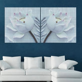 2PCS Nordic Canvas Print 3D Flower White Rose Wall Art Picture Pinturas de pared Cuadros sin marco