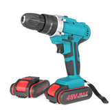 48V 2 Speed Power Drills Cordless Electric Drill 13000mAh 25+3 Torque Drilling Tool With 2 Li-ion Batteries