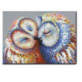 50 * 70 cm Pocałunek sowy Para Obraz na płótnie Obraz na ścianie Hang Art Home Dekoracje ślubne