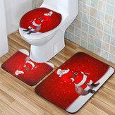 Noel Baba Su Geçirmez Kaymaz Banyo Duş Perdesi Tuvalet Kapağı Mat Halı Seti