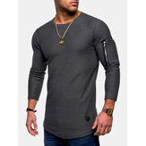 Irregular Hem Zipper Casual T-Shirts