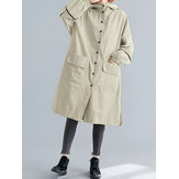 Women Casual Button Double Big Pockets Hooded Trench