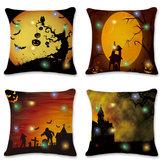 18 '' LED lumières Halloween citrouille housse de coussin carré taie d'oreiller canapé décor