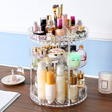 360 Degree Rotation Transparent Acrylic Cosmetics Storage Box Fashion Spin Multi-function Desktop Detachable Makeup Beauty Organizer