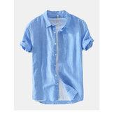 Męska modna nowa lniana koszula z krótkim rękawem w jednolitym kolorze