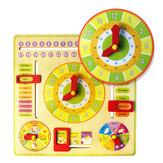 木製多機能学習時計玩具アラームカレンダー認知教育玩具