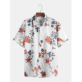Mens Chinese Fashion Floral Printed Square Collar Shirts