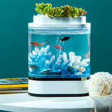 Geometry Mini Lazy Fish Tank USB Charging Self-cleaning Aquarium with 7 Colors LED Light from Xiaomi Youpin
