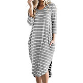 Women Stripes 3/4 Sleeves High Low Hem Dress