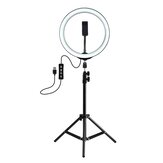 PULUZ PKT3035 10 بوصة USB فيديو Ring ضوء with 110cm ضوء Stand Dual هاتف Clip for Tik Tok Youtube Live Streaming