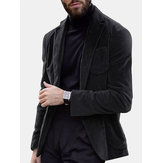 Mens Business Turn Down Collar Pocket Thick Casual Coats