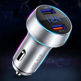 Bakeey QC3.0 3A Dual Port Fast Charging Digital display Car Charger With Point Pressure Monitoring For iPhone X XS XIAOMI MI8 MI9 Redmi 7A HUAWEI P30 S10 S10+