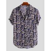 Men Leopard Print Soft Short Sleeve Relaxed Shirts