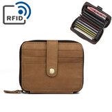 Porte-cartes à cartes en cuir véritable pour hommes avec 15 cartes RFID