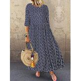 Sukienka maxi z okrągłym dekoltem w czeskie kropki