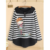 Women Casual Cartoon Print Stripe Patchwork Blouse