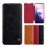 For OnePlus 7T Pro Case NILLKIN Qin Series Vintage Flip Card Slot Holder PC Bumper PU Leather Protective Case