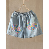 Casual Muticolor Bordado Denim Shorts