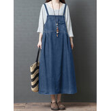 S-5XL Mulheres Casual Loose Sleeveless Denim Dress