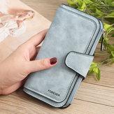 Damski portfel na trzy portfele, matowy, matowy, ze sztucznej skóry