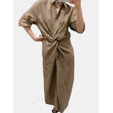 Nó de botão de manga comprida em cor sólida simples Camisa vestido longo maxi