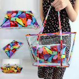 Women Clear Transparent Flowers Beach Shopping Bag Shoulder Handbag Tote Purse