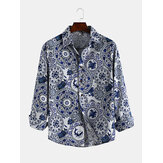 Men Blue and White Porcelain Print Long Sleeve Shirts