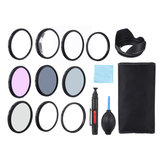 Close-up + 1 / + 2 / + 4 / + 10 UV CPL FLD ND2 / 4/8 49/52/55/58/62/67/77 / 77mm Filter Lensa Hood Cap Blower Brush Kit Set