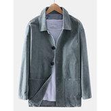 Vintage sztruksowe podwójne kieszenie, męska kurtka z długim rękawem
