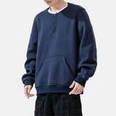 Herren Plus Samt Pullover mit Rundhalsausschnitt Youth Handsome Warm Thi