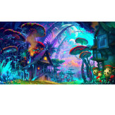 24x36'' Psychedelic Mushroom Town Art Print Fabric Silk Poster Wall Home Decorations