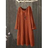 Plus Size Jacquard gola vintage vestido de malha