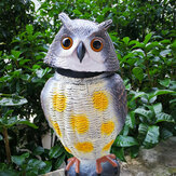 SGODDE Plastic Realistic Owl Decoy 360° Rotating Head Birds Pest Repellent Control Scare Crow Garden Yard Realistic Bird Decoration Hunting Decoy