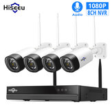 Hiseeu WNKIT-4HB312 8CH 1080P Draadloos CCTV-beveiligingssysteem 2MP IR Outdoor Audio Record IP-camera Waterdicht Wifi NVR Kit Videobewaking