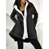 Kadın Düzensiz Hem Patchwork Kapşonlu Casual Gevşek Palto