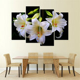 Ungerahmt 4 Stücke Weiße Lilie Kunst Cambric Malerei Bild Drucken Home Wandaufkleber Dekor Neu