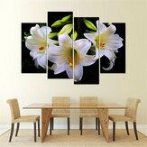 Sin marco 4Pcs White Lily Art Cambric Painting Picture Print Home Etiqueta de la pared Decoración Nuevo