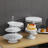フォンダンデザートメタルカップケーキスタンドのパーティーのサプライヤーを飾る結婚式の装飾白いテーブルキットの5ピースケーキスタンドセット
