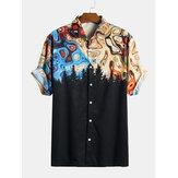 Erkekler Paisley Baskı Kısa Kollu Rahat Gömlek