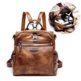 Women Vintage Oil Wax Multi-function Backpack Handbag