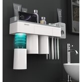 [Magnetic Design] Jordan&Judy Mutifunctional Magnetic Toothbrush Holder with Toothpaste Squeezer Cups Bathroom Storage Rack Nail Free Mount for Shaver Toothbrsuh Phone from