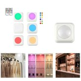 3pcs / 6pcs Colorful Remote Control Pat Night Light for Wardrobe Kitchen Bedroom Cabinet Square Shape