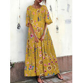 Women Vintage Crew Neck Loose Floral Dress with Pockets
