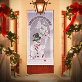 Cortinas de natal Branco Renda Boneco de neve Janela Porta Xmas Decor Home Party Curtains Decorations