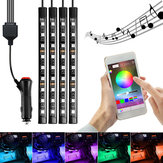 AMBOTHER 4PCS LED RGB Car Interior Floor Decoration Lights Bars Wireless bluetooth APP Control Atmosphere Lamp Strip with Car Lighter